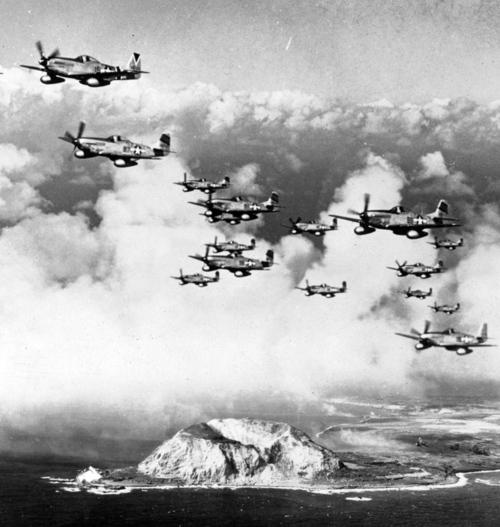 Photo aérienne de l'île d'Iwo Jima